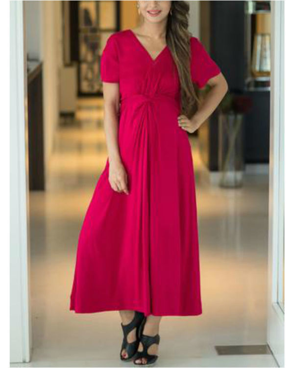 Royal carnation front knot lycra maternity dress