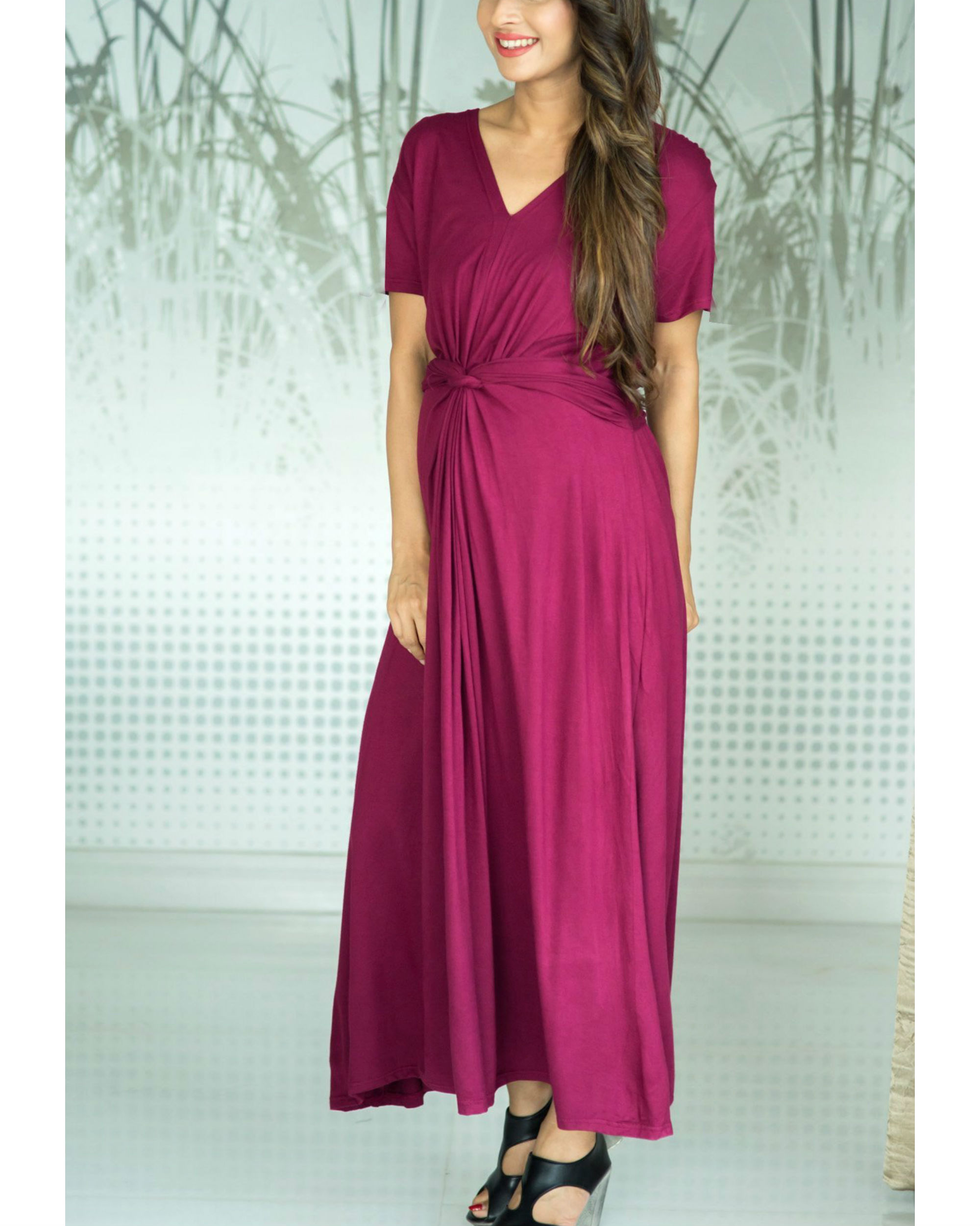 Berry front knot lycra maternity dress