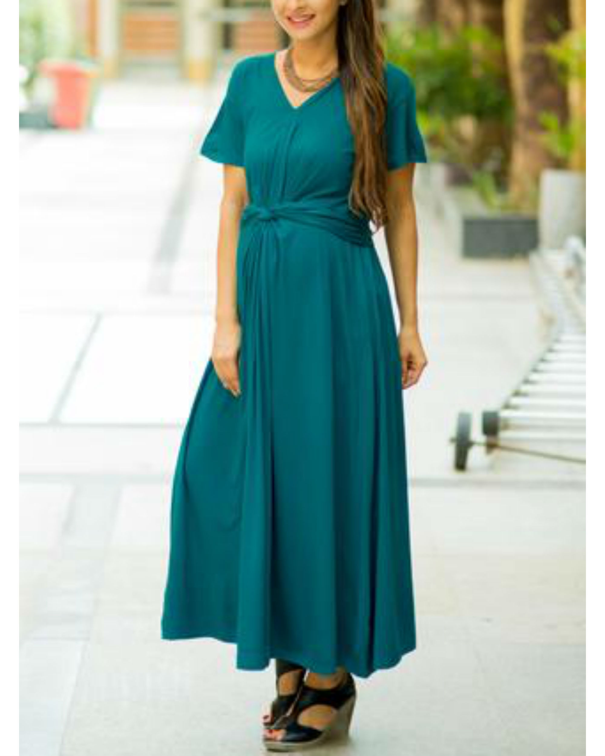 d52495eae39 Emerald front knot lycra maternity dress by MOMZJOY