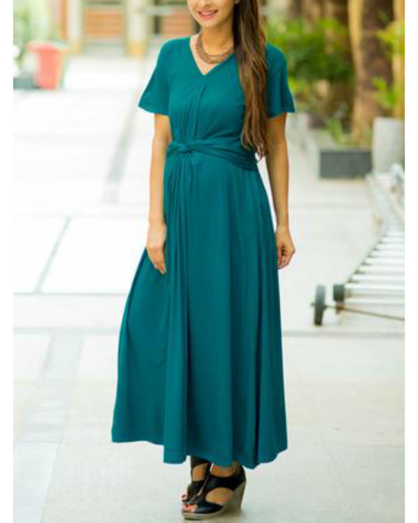 Emerald front knot lycra maternity dress