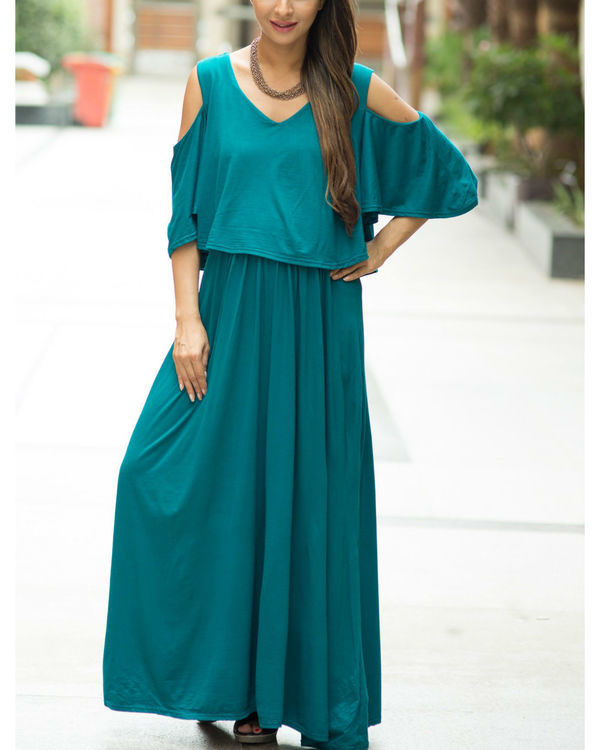 Teal cold shoulder maternity & nursing maxi dress