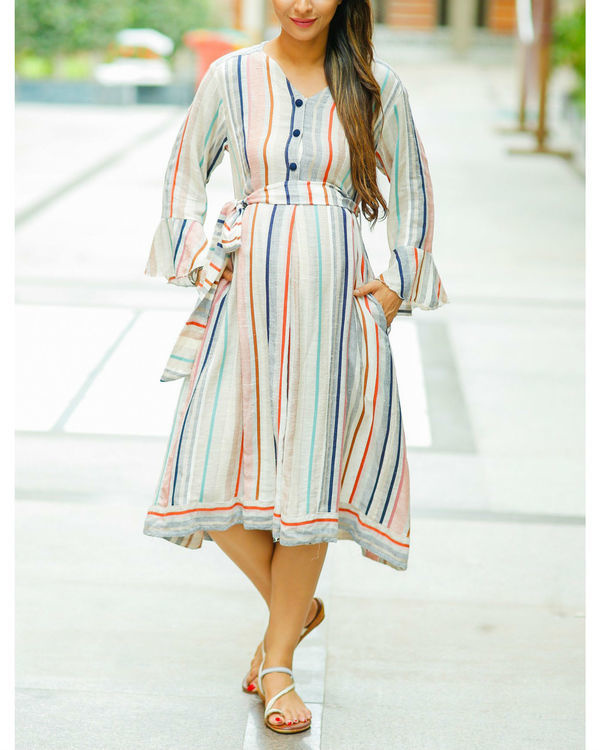 Striped linen front button maternity & nursing dress