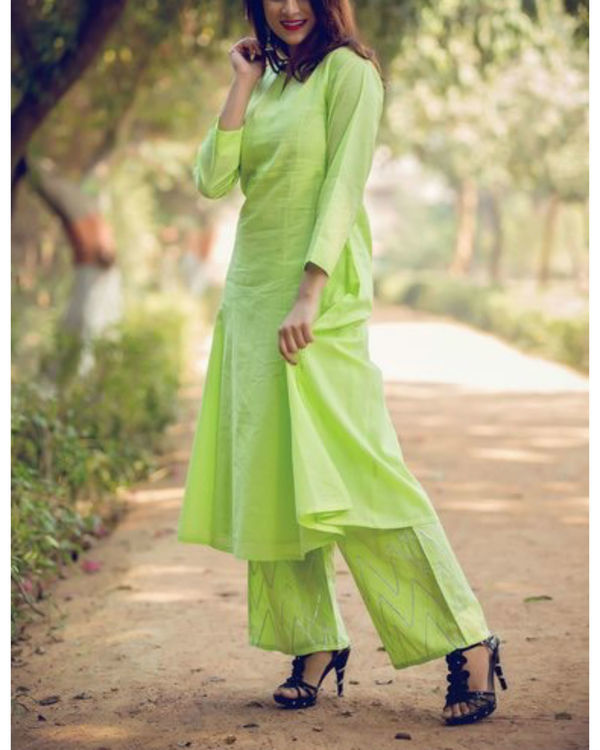 Lime green anarkali suit with palazzo and inner