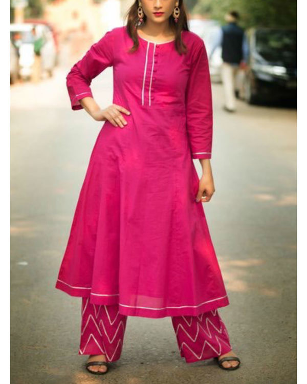 Dark magenta anarkali suit with palazzo