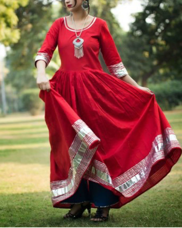Red floor length anarkali with blue palazzo