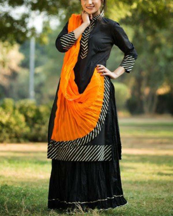 Black gotta patti straight kurta with crush skirt & dupatta