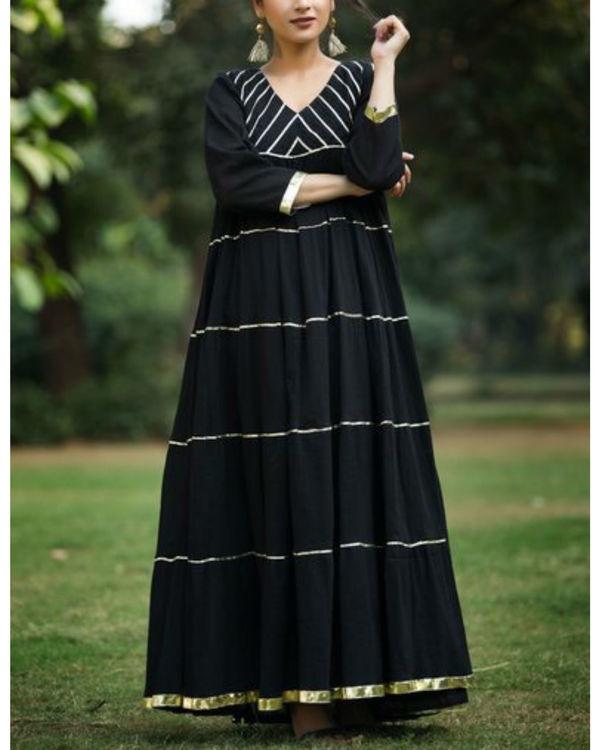 Black crush anarkali with black cotton palazzo