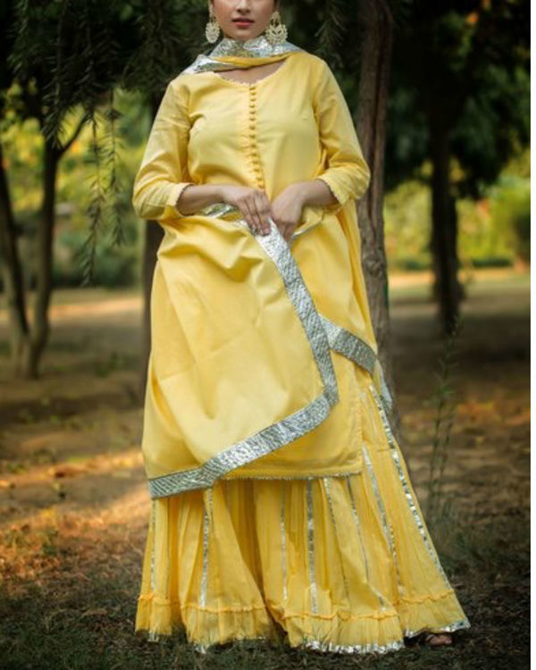 Yellow gotta patti sharara with dupatta