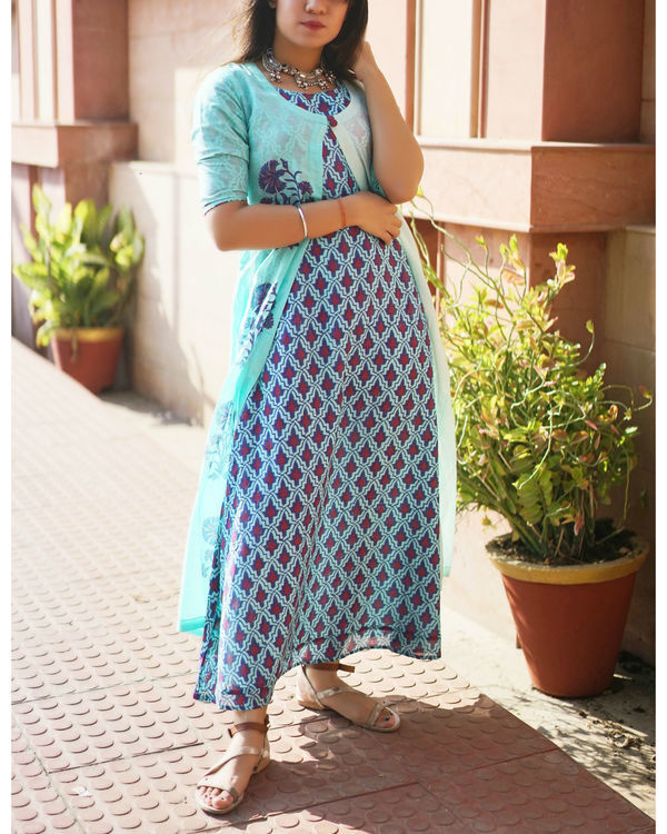 Turquoise blue mughal dress