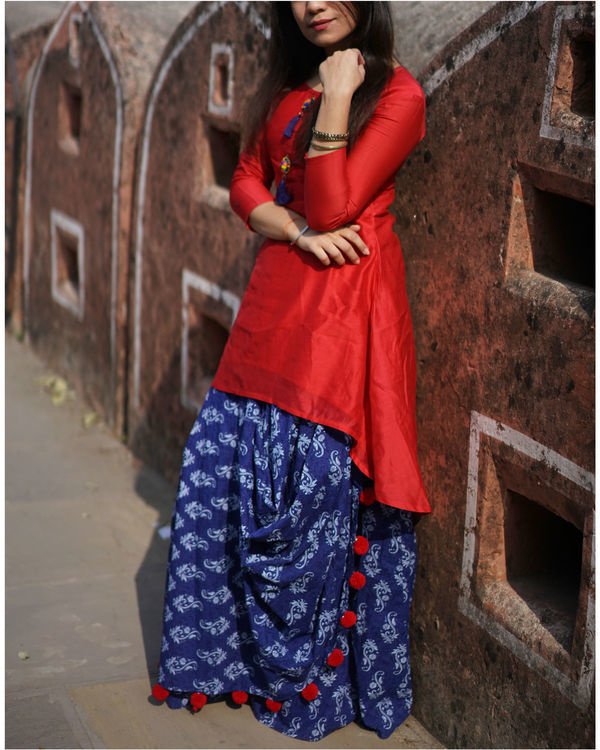 Blue drape skirt with chanderi kurta