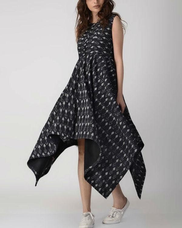 Black cotton asymmetric dress