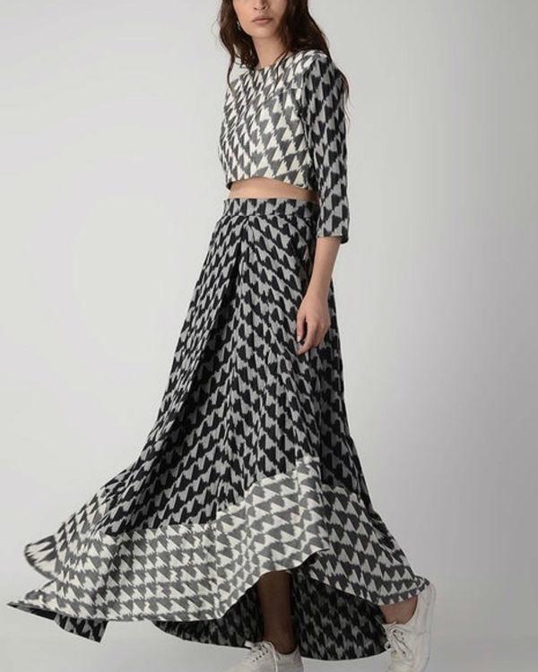Black, white and grey crop top skirt set