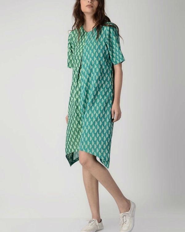 Green half & half dress