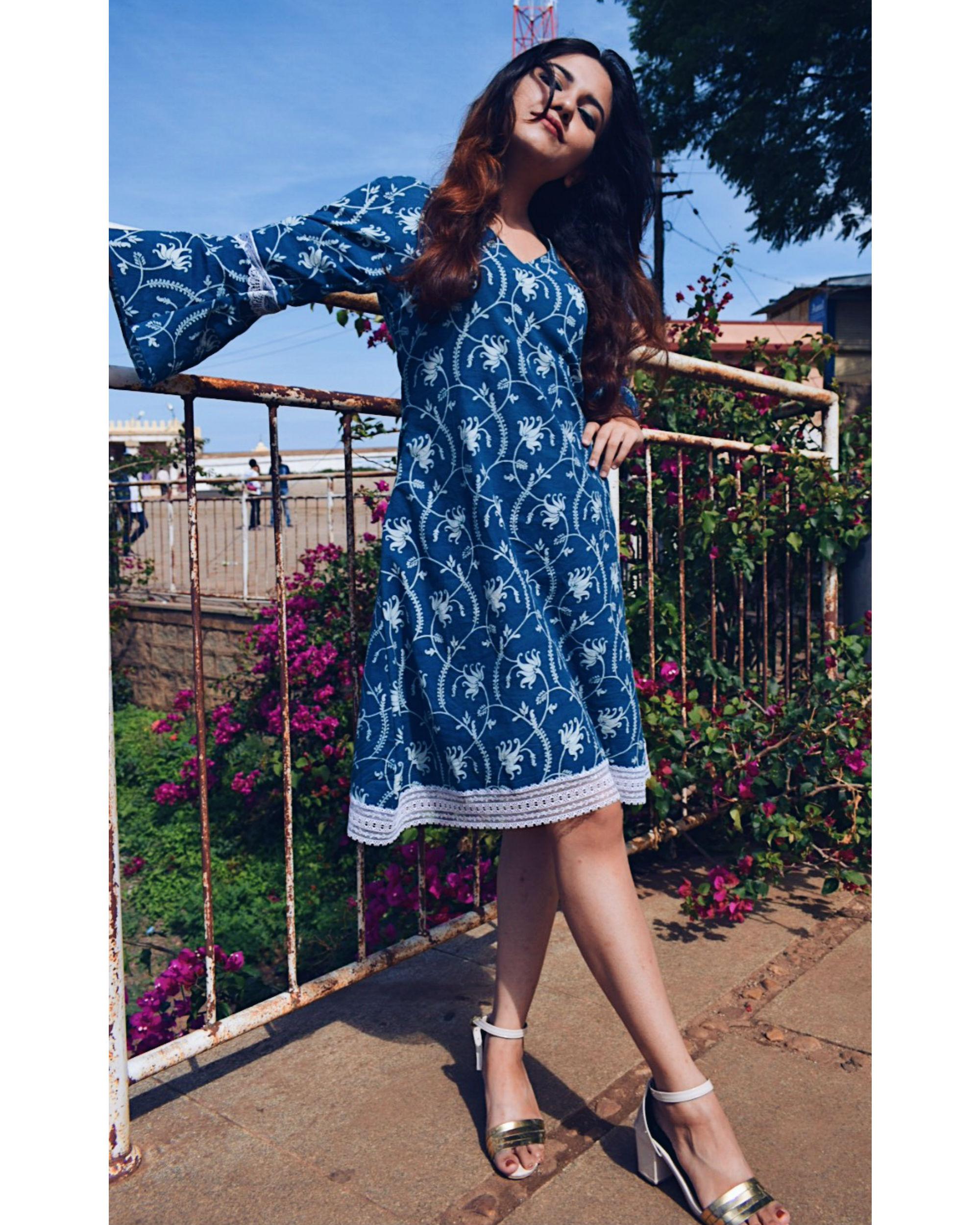Floral jaal indigo dress