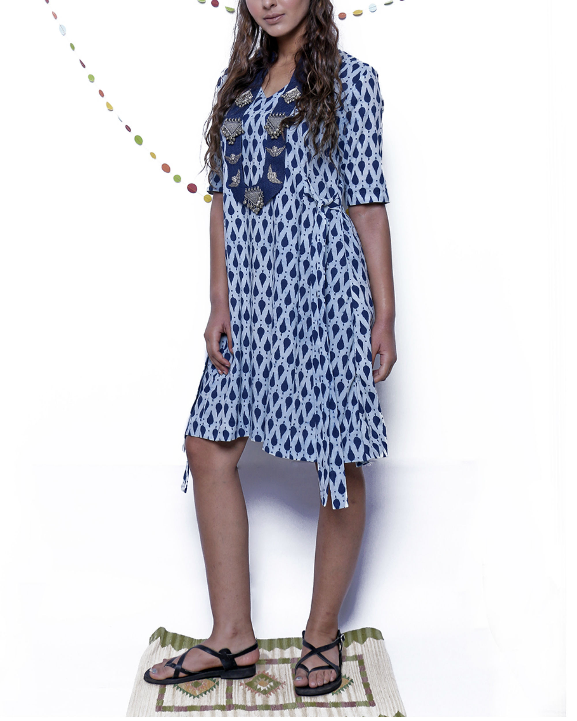 Indigo leaf four way dress