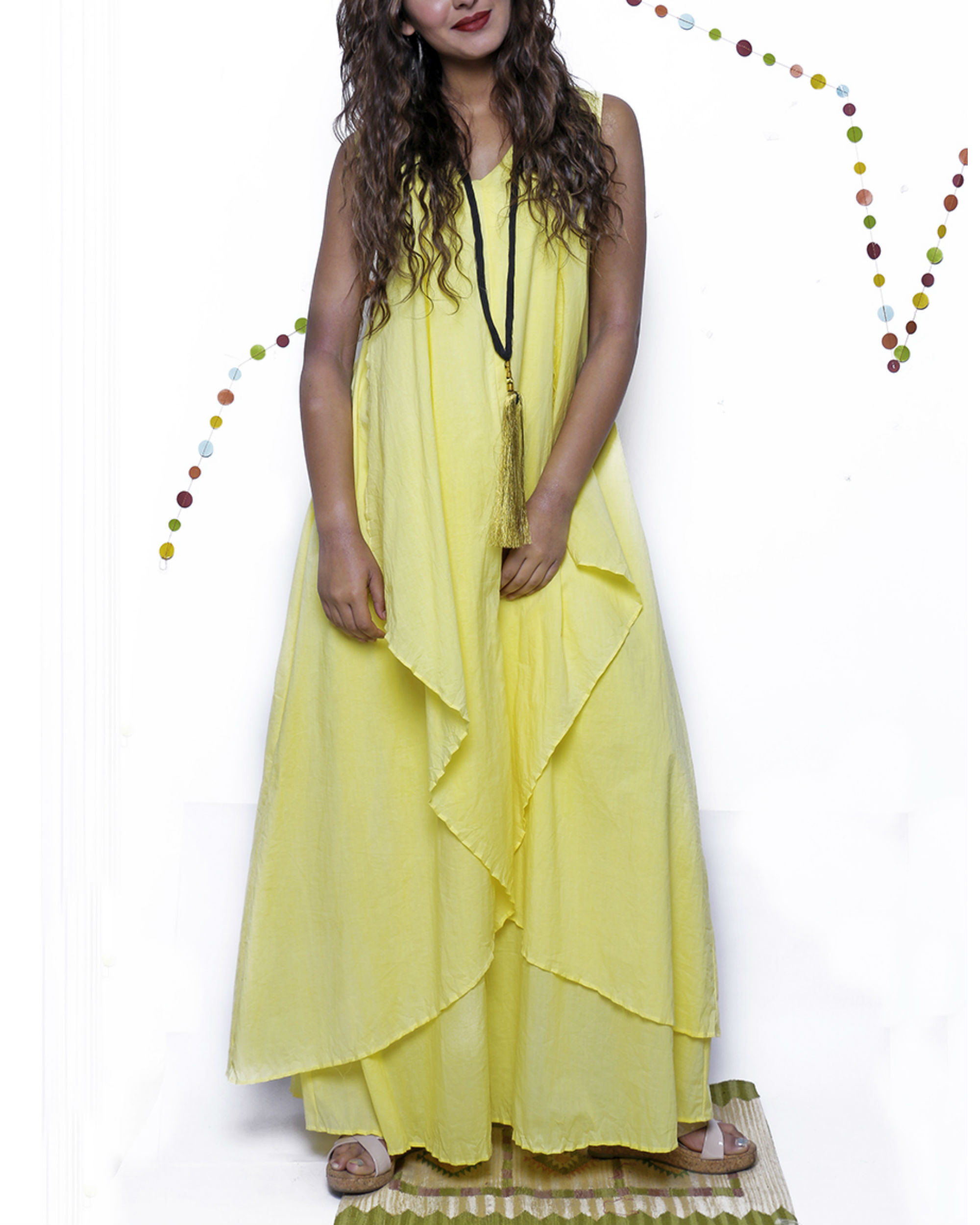 Yellow layered long gown