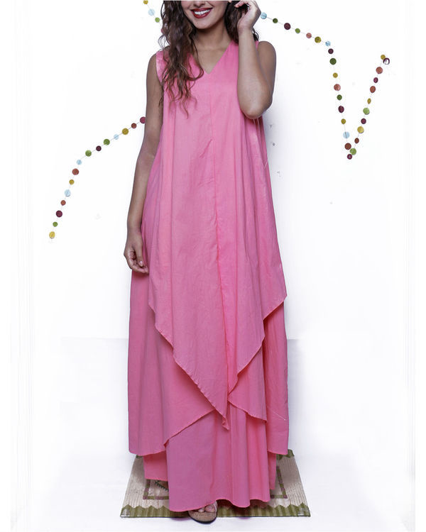 Pink layered long gown