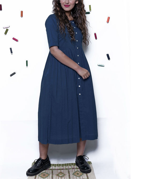 Plain indigo pleated dress