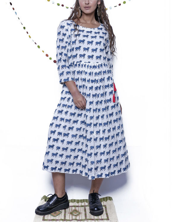 Navy Blue and white printed dress