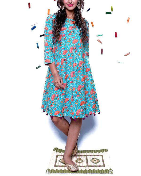 Bright blue pompom dress