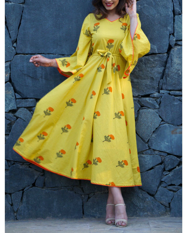 Lemon yellow poppy block printed maxi