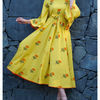 Thumb lemon yellow poppy blockprinted maxi