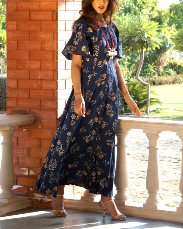 Navy blue floral button down maxi