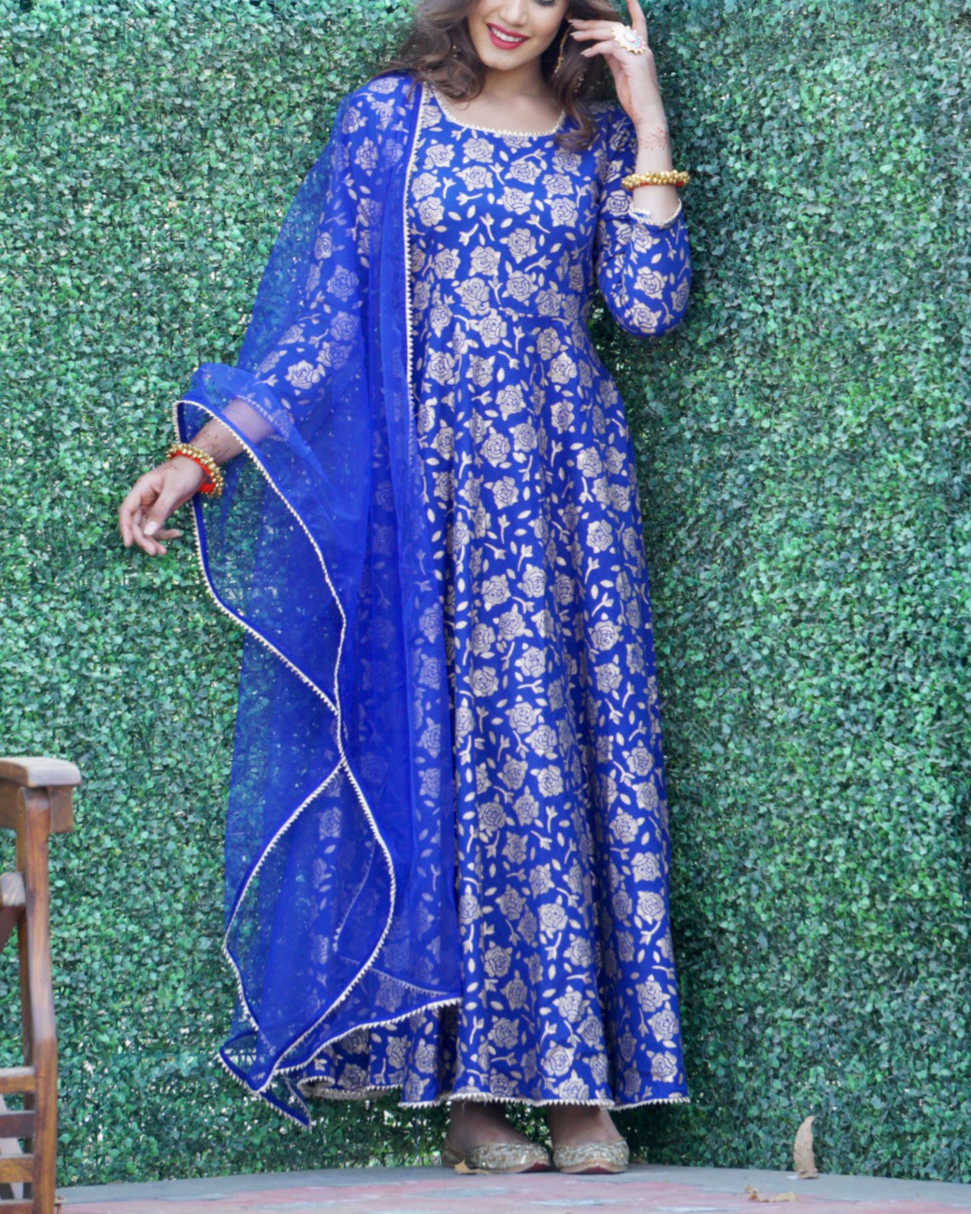 Blue rose gold anarkali set with net dupatta