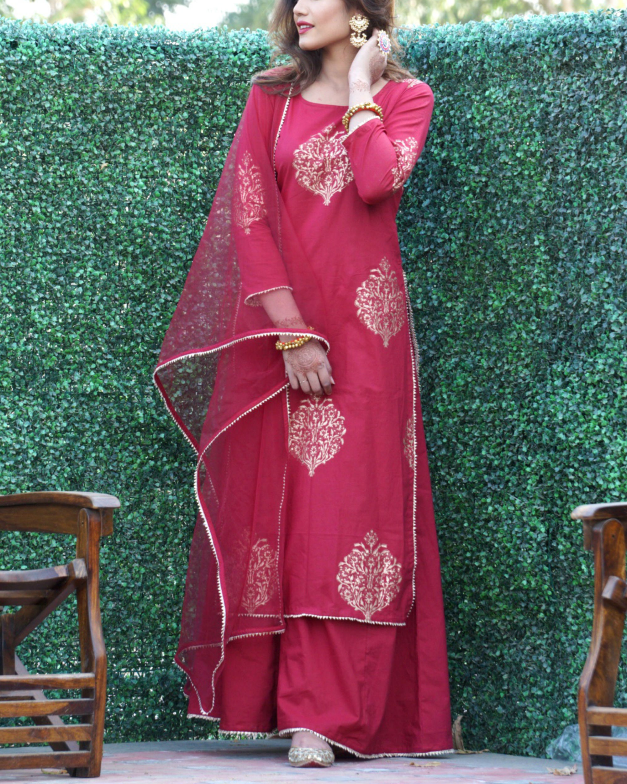 Maroon gold print sharara set with net dupatta