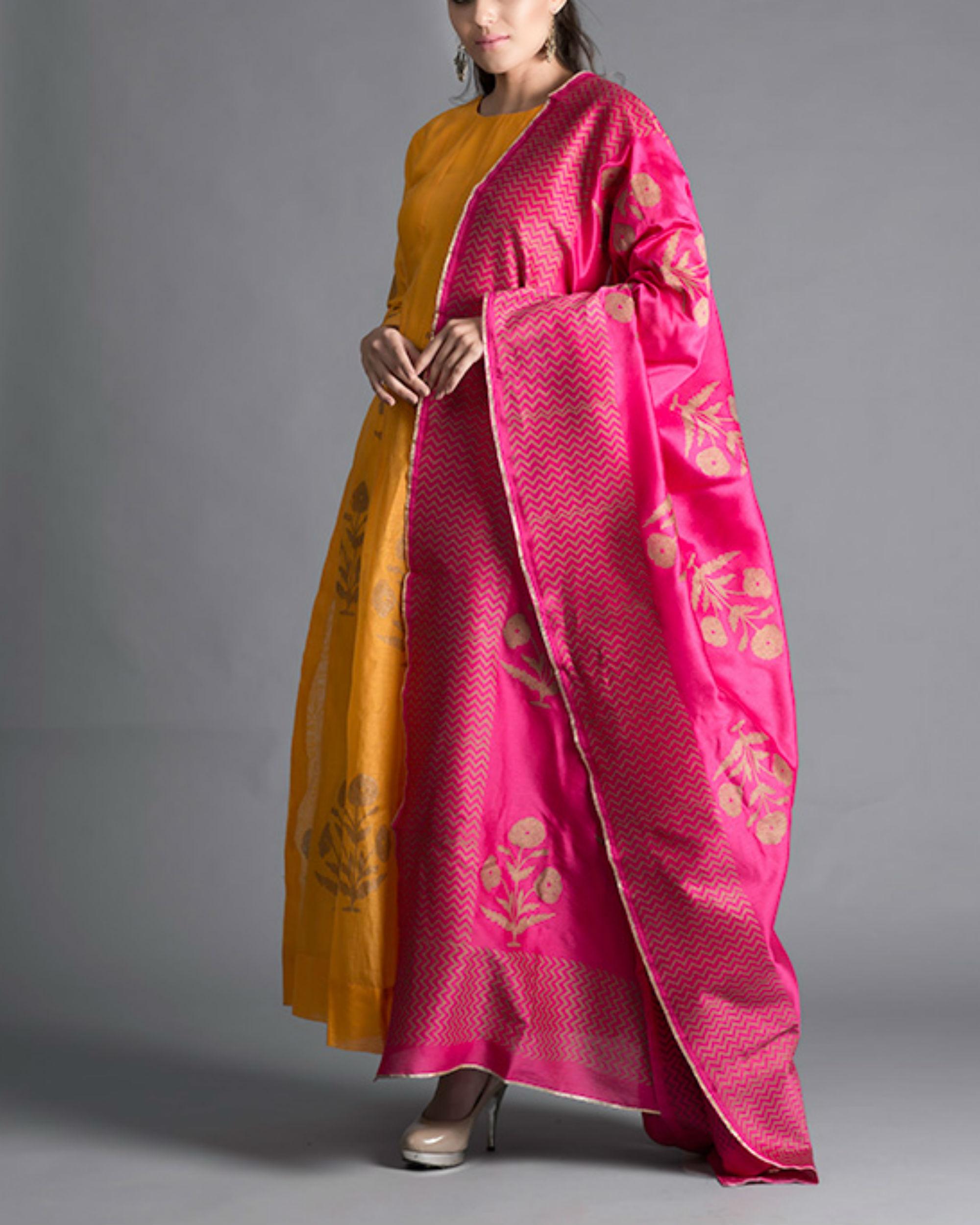 Marigold daisy kalidar kurta set with rani pink dupatta