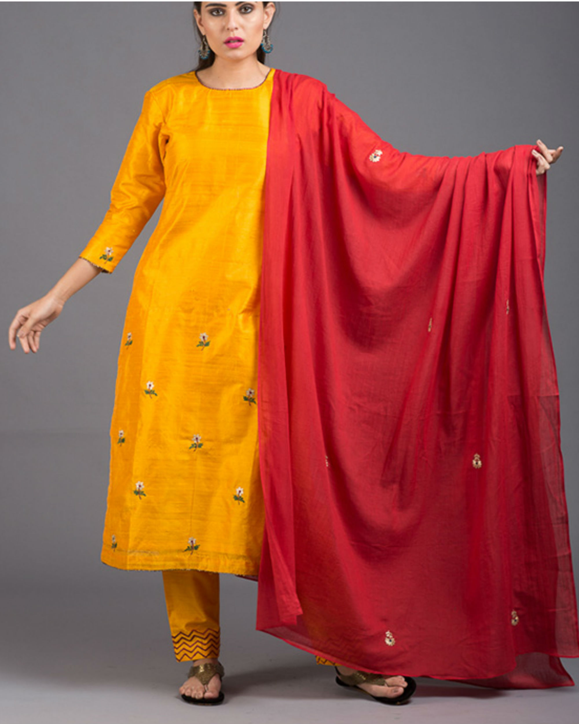Amber floral embroidered set with red dupatta