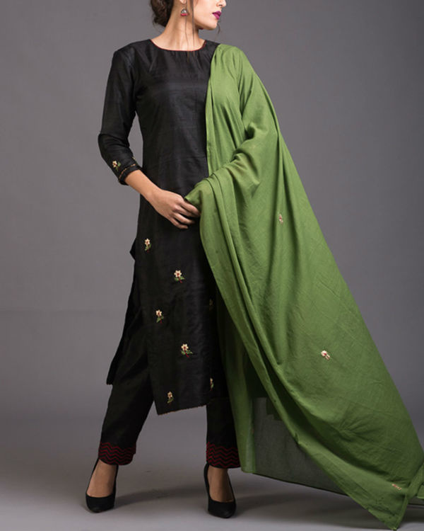 Charcoal floral embroidered set with green embroidered dupatta