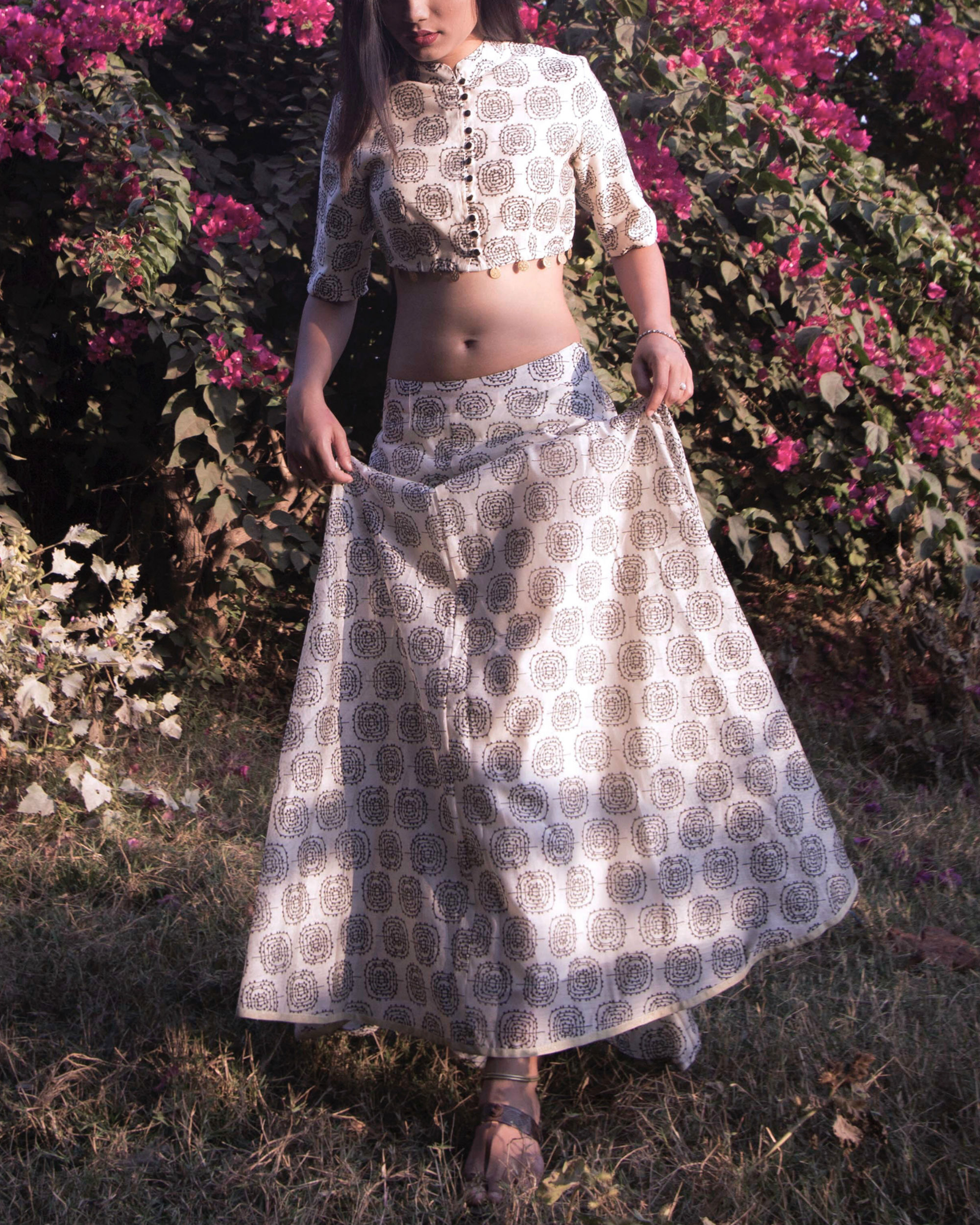 Chanderi crop top and skirt set