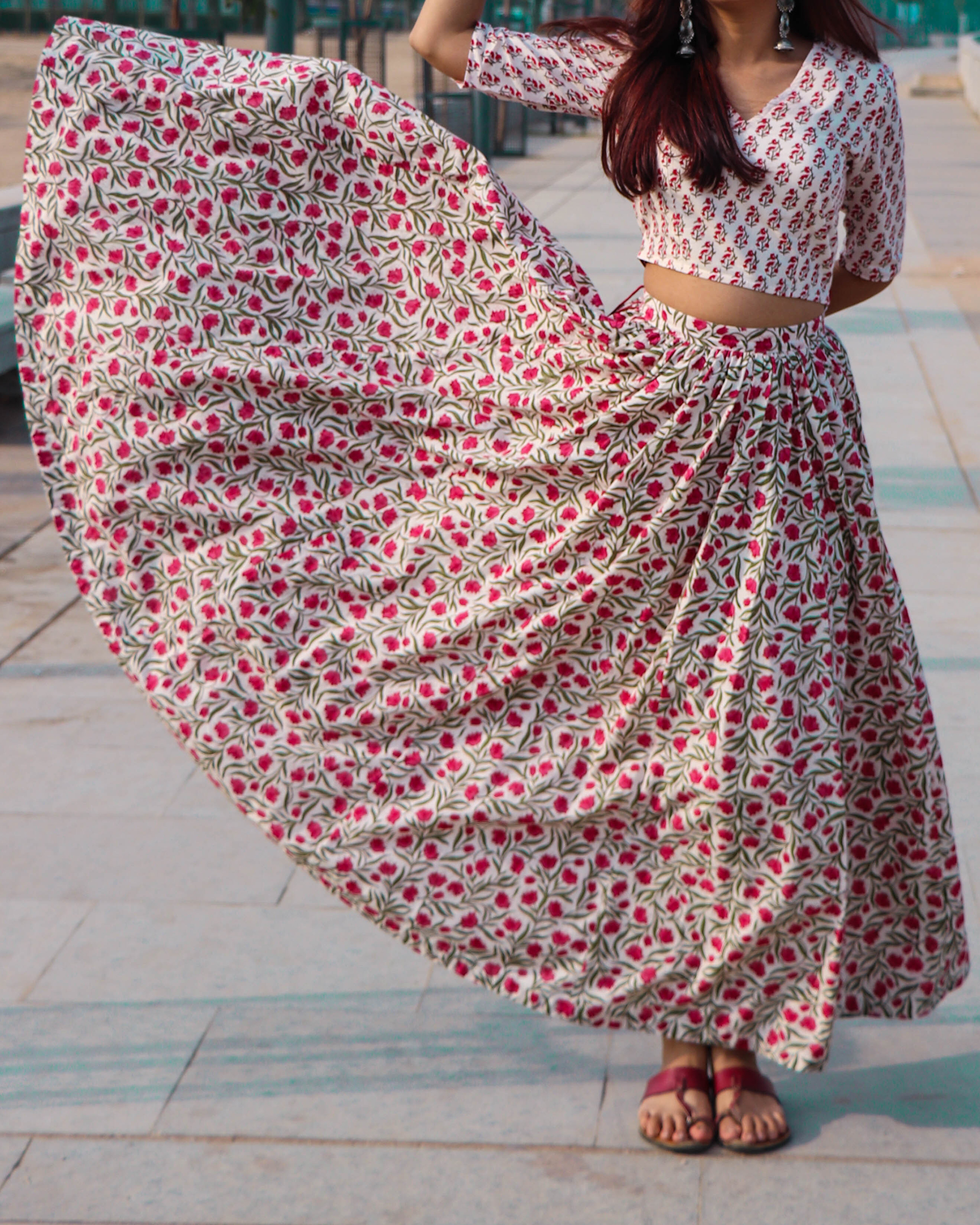 Hand block print cotton skirt