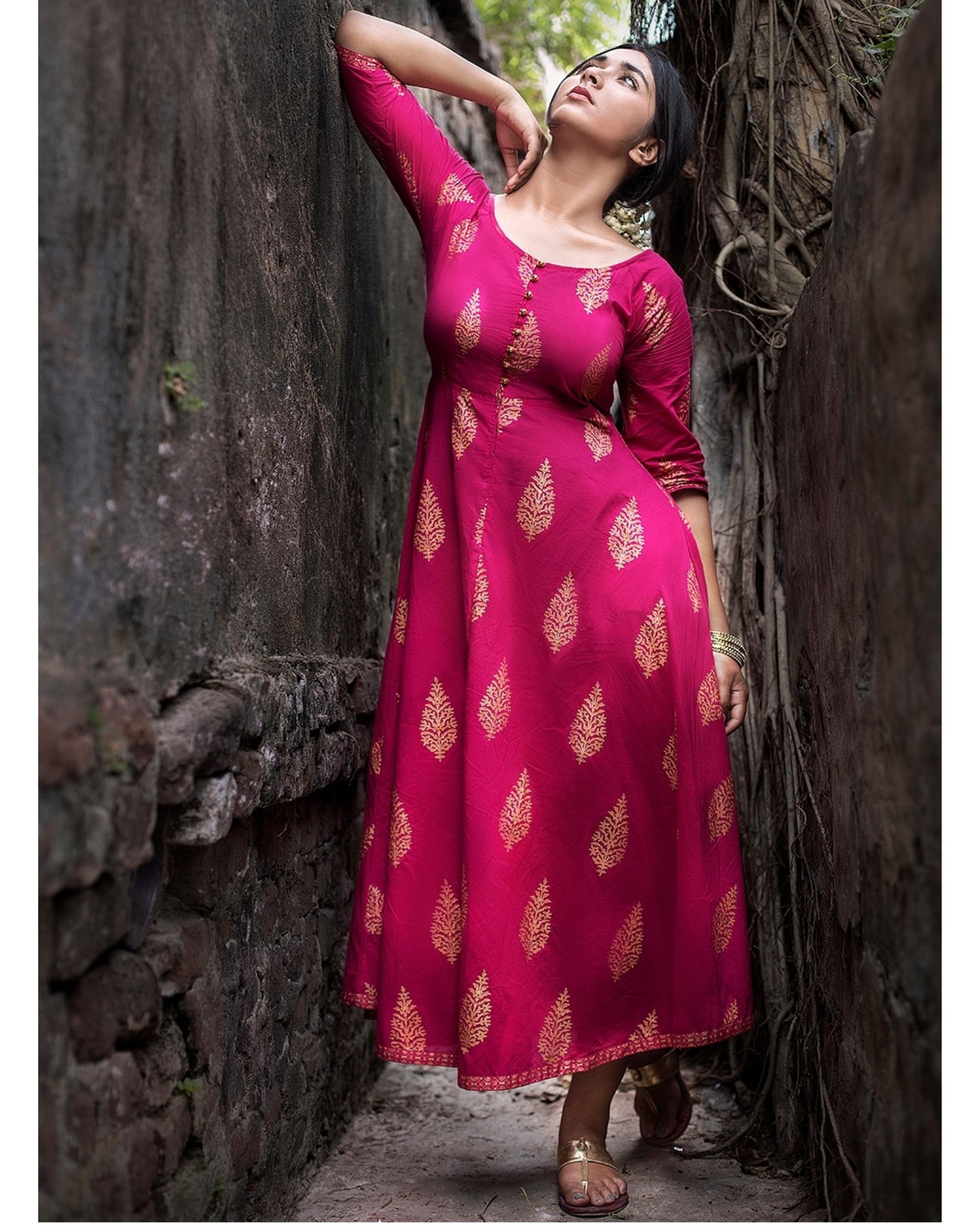 Pink gold boota maxi dress