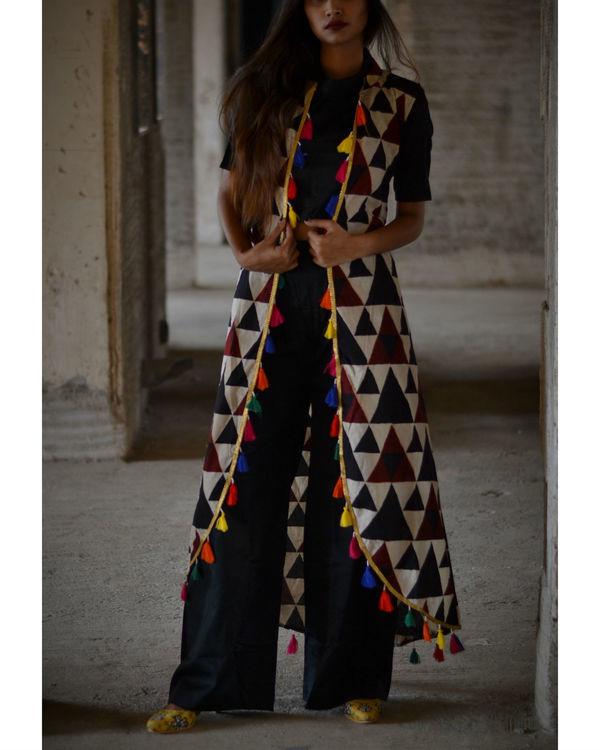 Black urban desi set with jacket