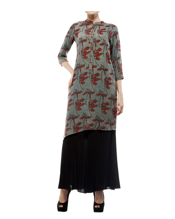 Asymmetric tunic with leaf print