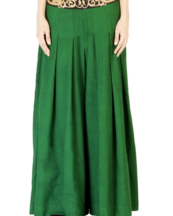 Bottle green embroidered palazzo pants