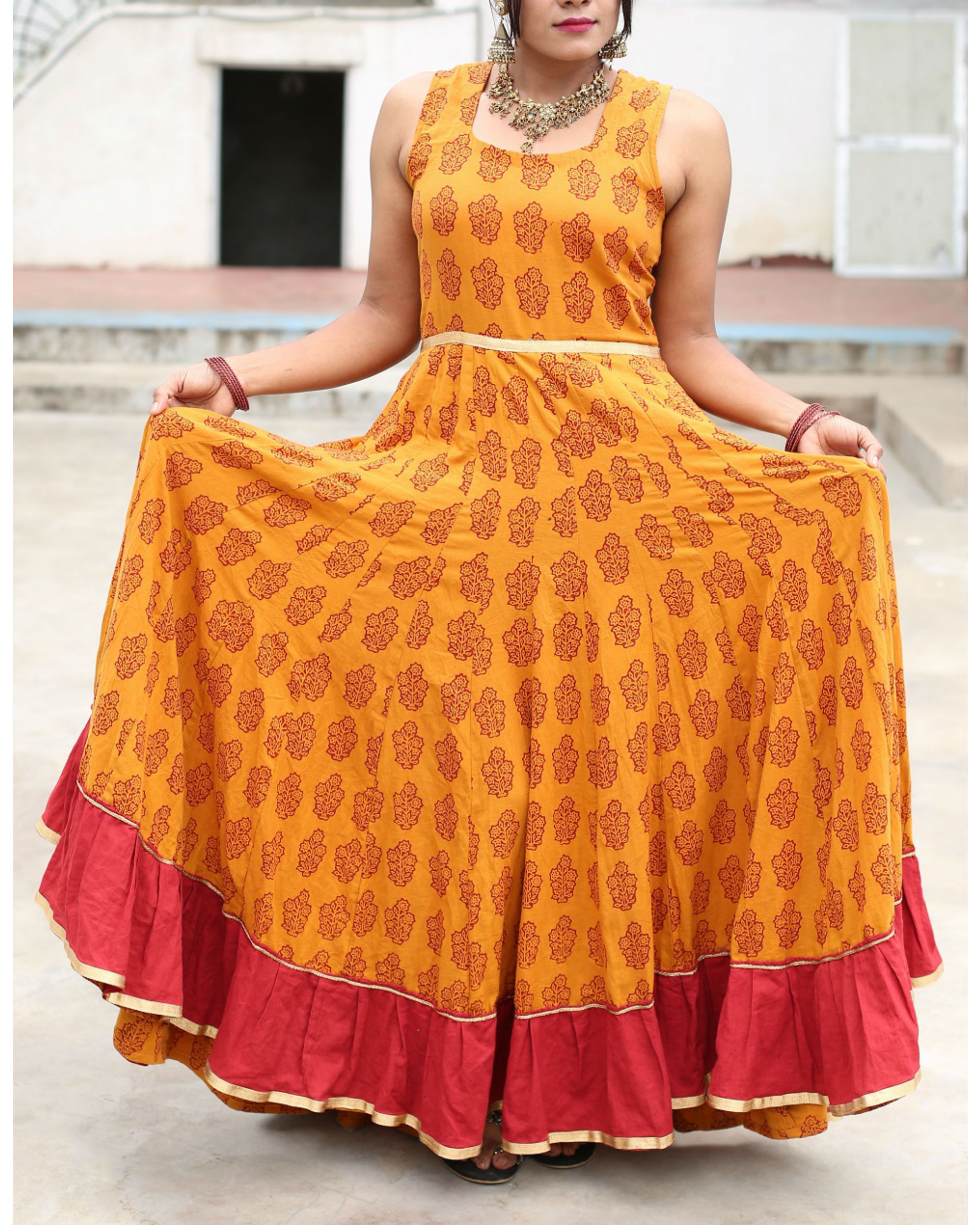 Haldi chandan  flared bagh print dress