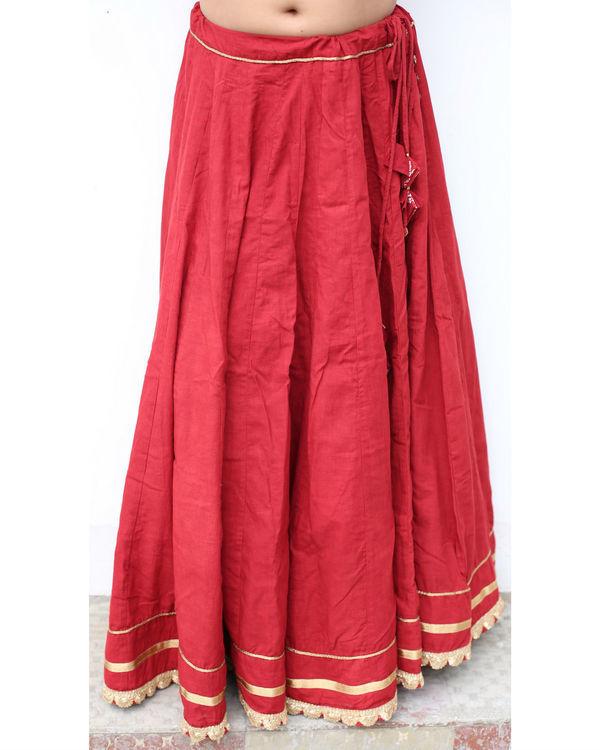 Mehrooni flare solid skirt