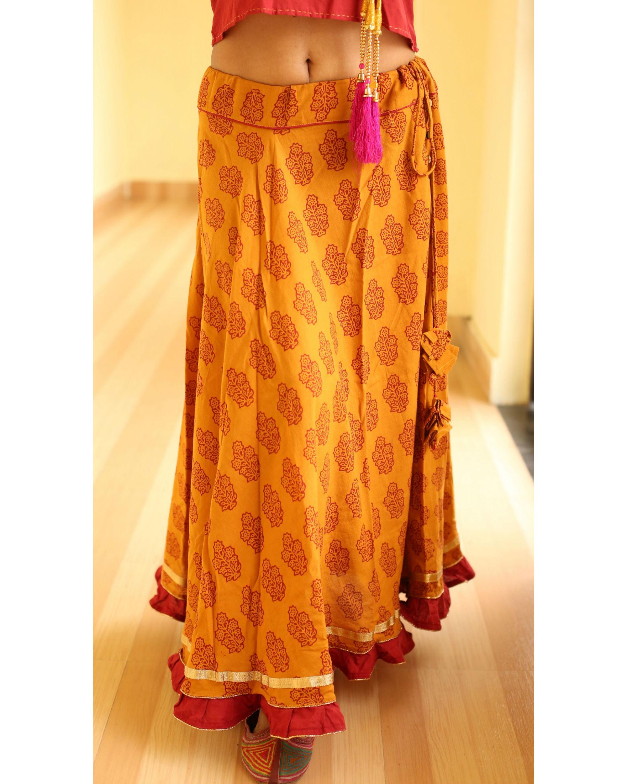 Haldi chandan  flared bagh print skirt