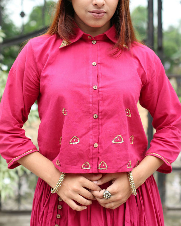 Gulabo crop shirt with sequin detailing