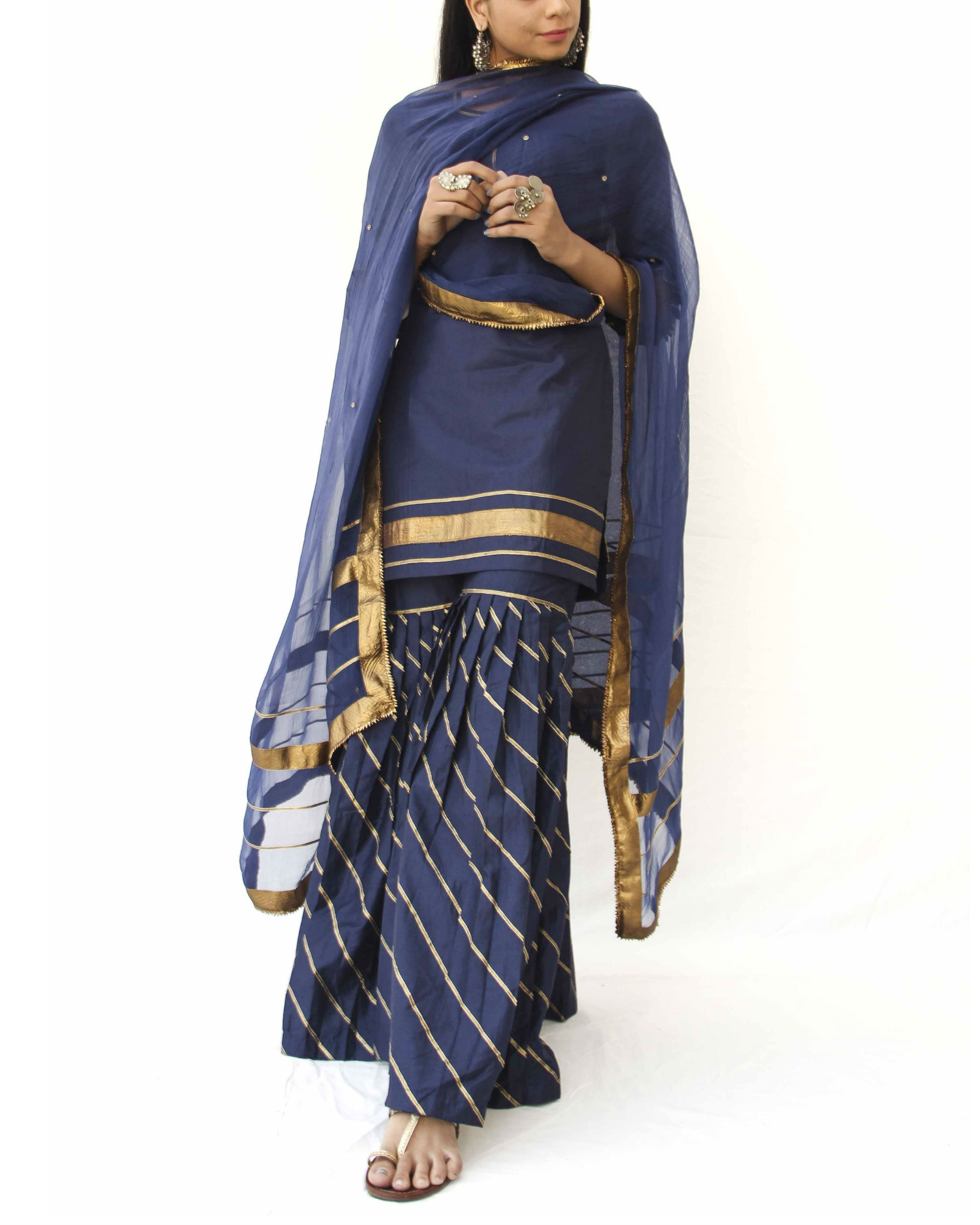 Midnight blue sharara set