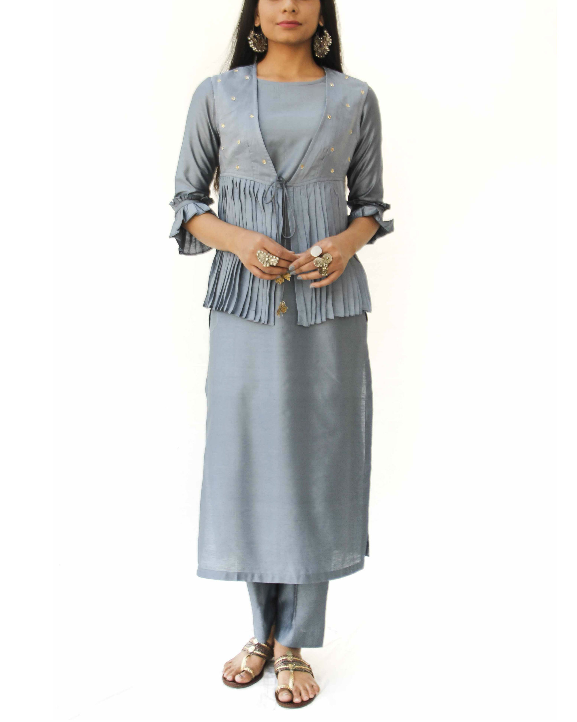 Grey kurta jacket trio set