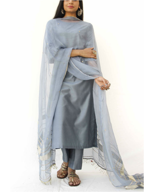 Grey straight kurta set