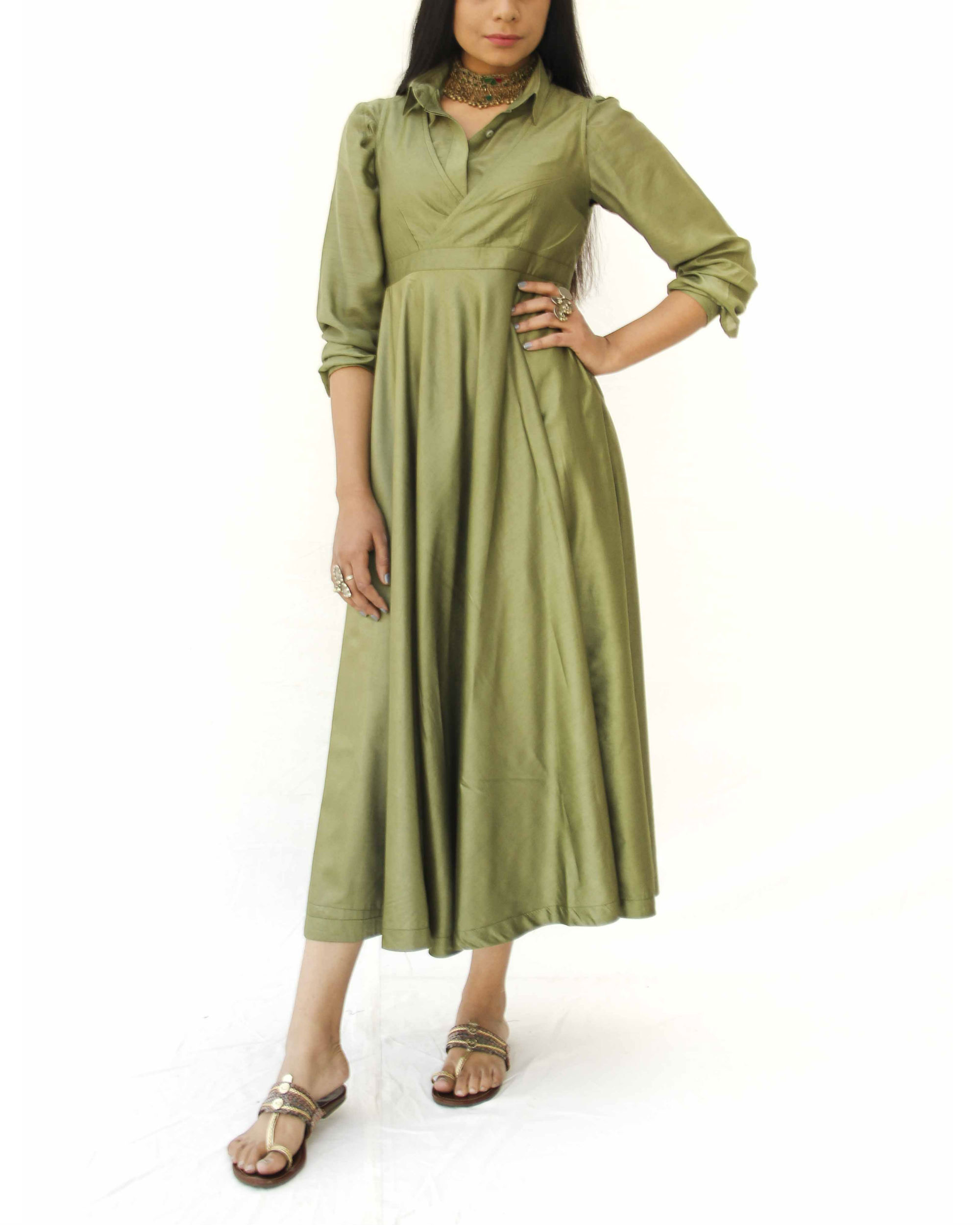 Olive green magical walk dress