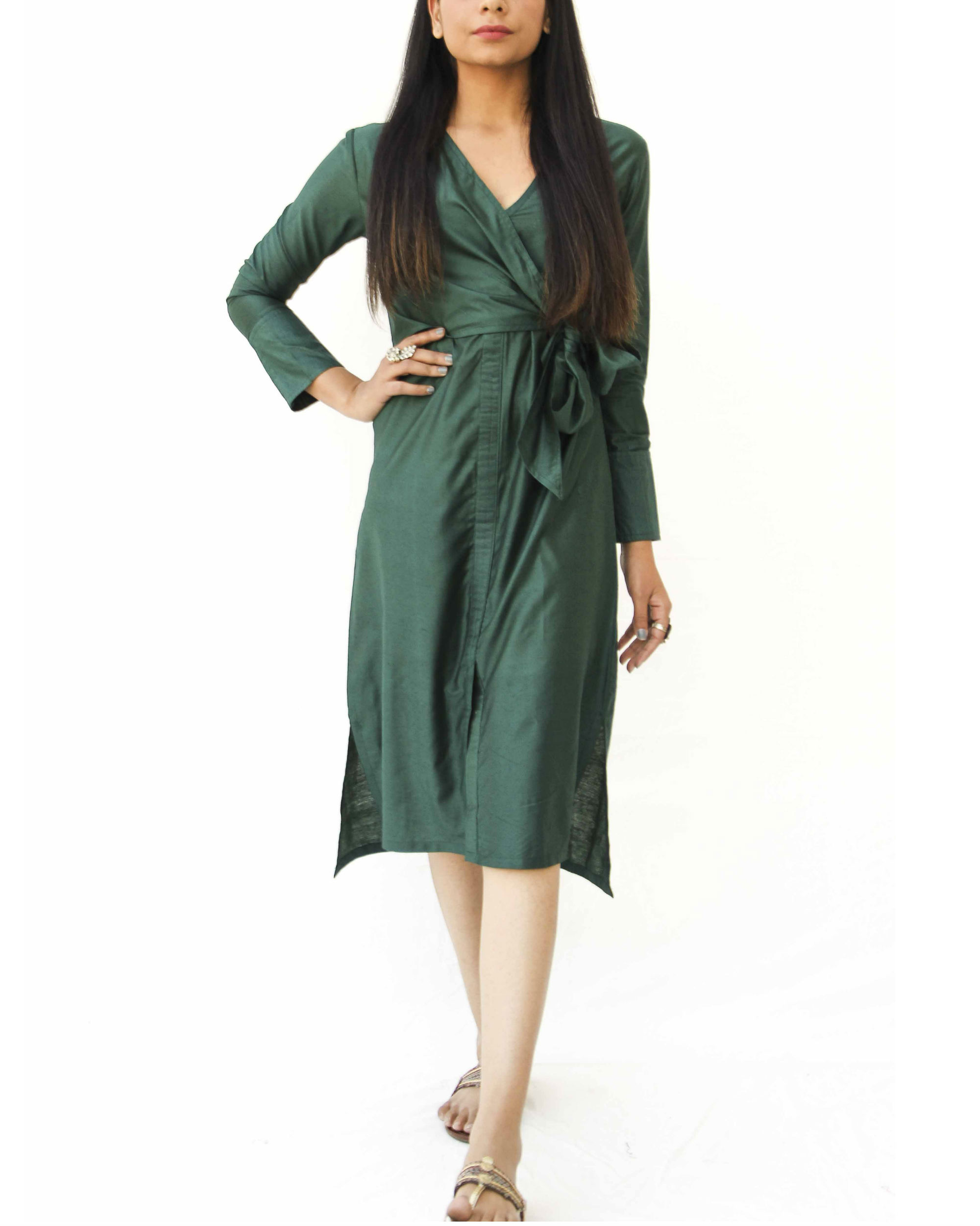 Emerald green side knot wrap  dress