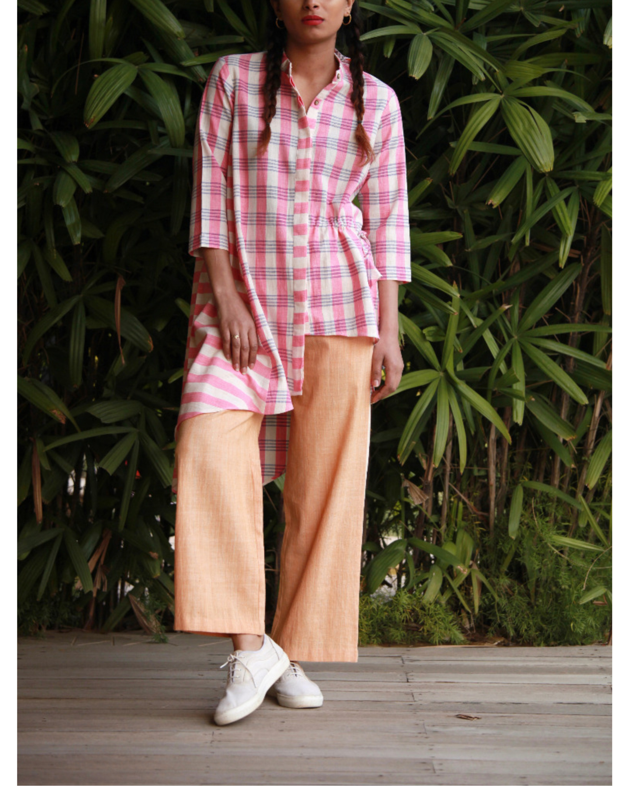 Asymmetrical drawstring tunic