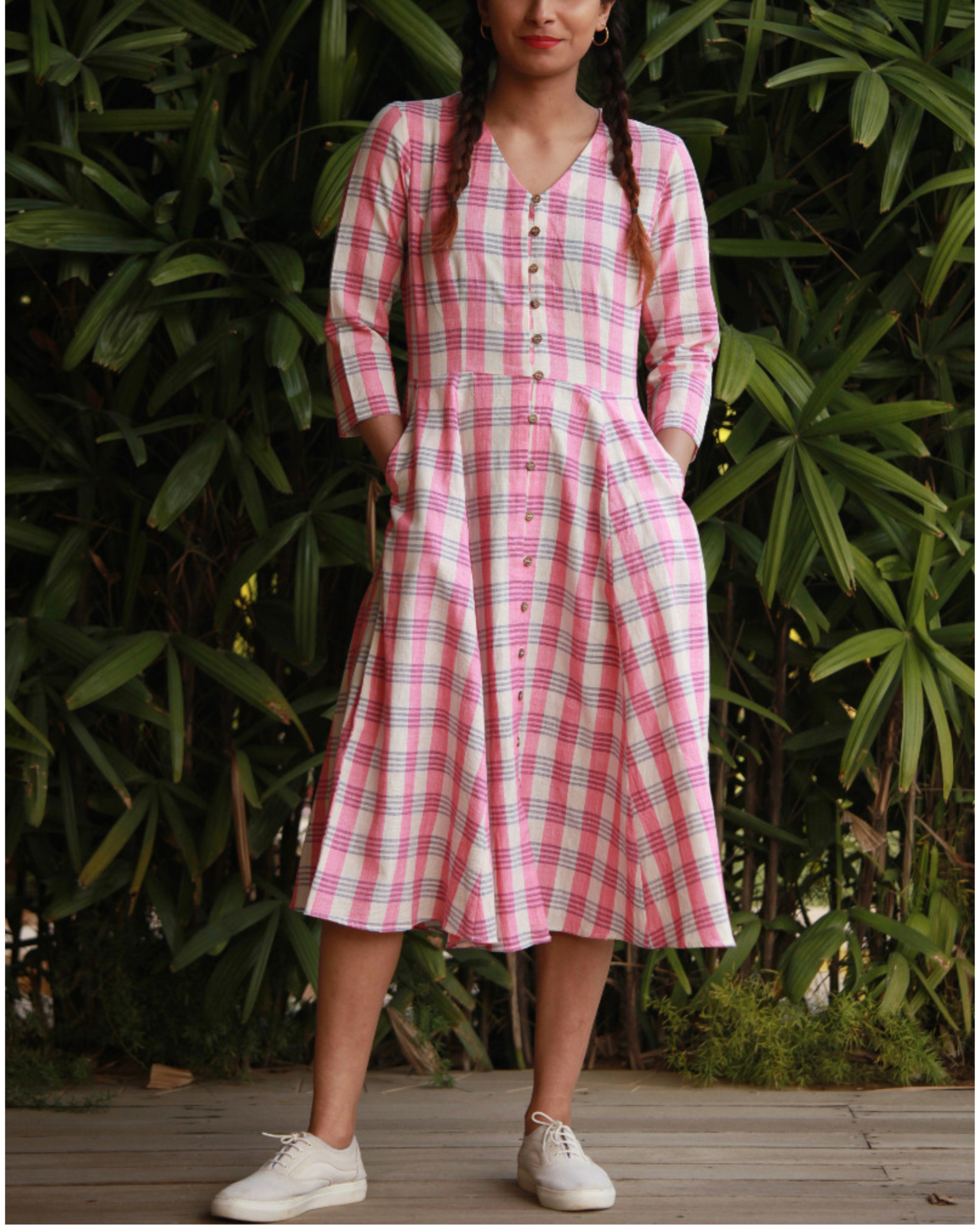 Quirky pink checks dress