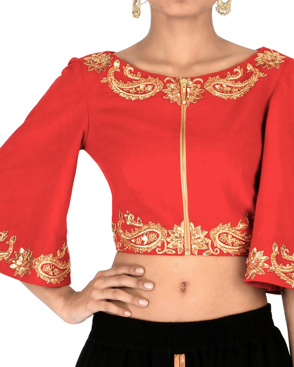 Red bell sleeves embroidered crop top